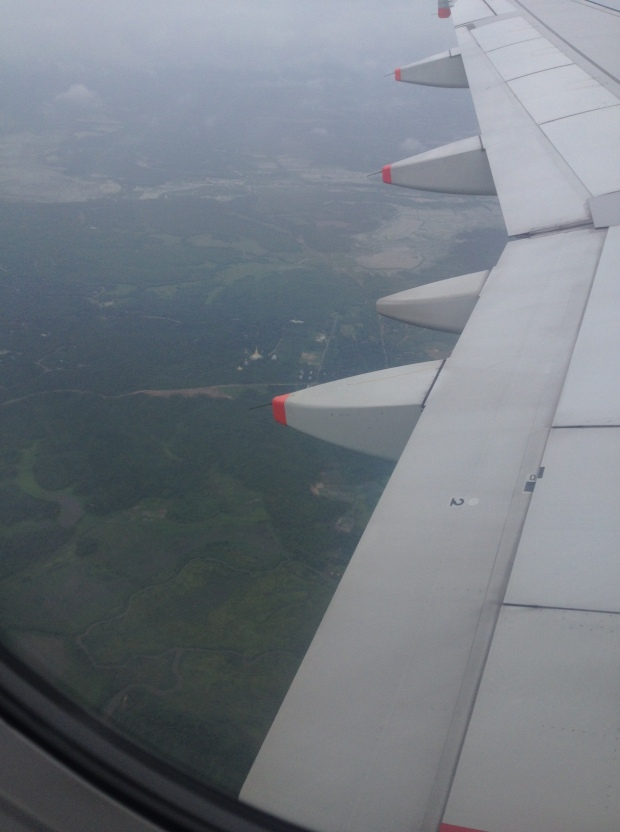 Flying into Yangon. There is a golden stupa just left of the wing.