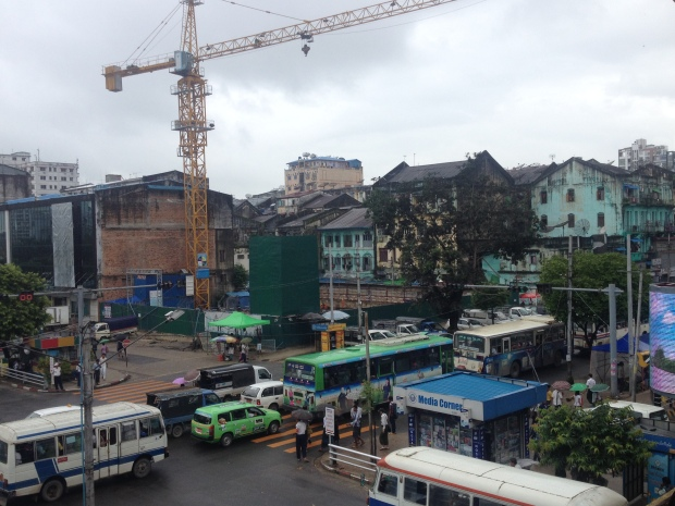 Yangon has adopted many cranes to complete the skyline.