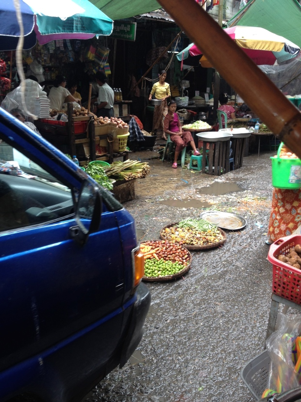 Don't buy the food in the middle of the markets. They are put there so cars can drive down the alley way. Only in Asia!