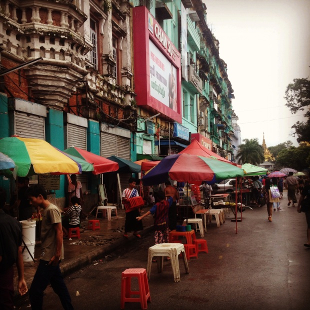 Street life in downtown Yangon.