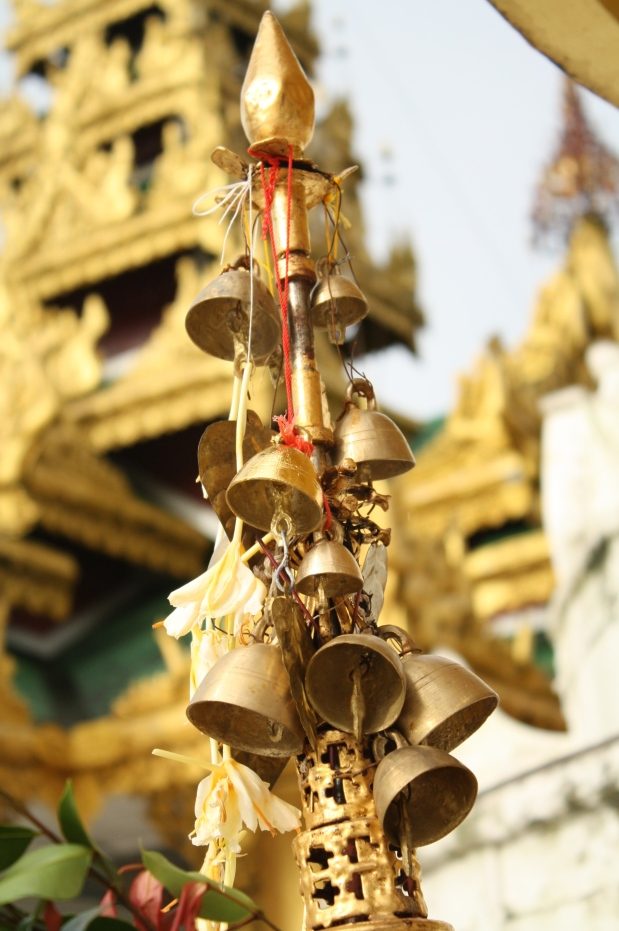 Bells like these hang from the umbrella (the top of the stupa). These bells surround the grounds and provide enchanting tunes.
