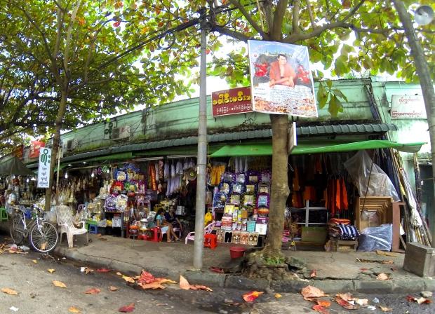 A street market near Shwedagon Pagoda.