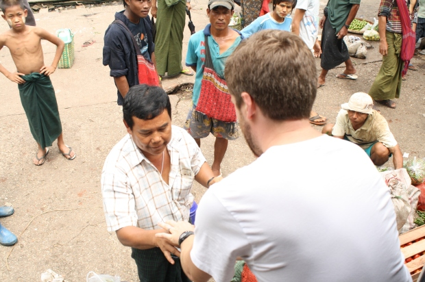 """This was a great chance for Scott to practice his """"chezu tim ba deh"""", thank you in Myanmar."""