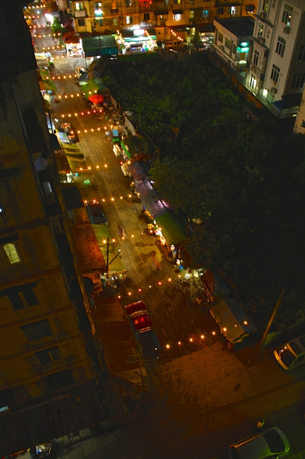 The view of the Thadingyut lights  from our balcony.