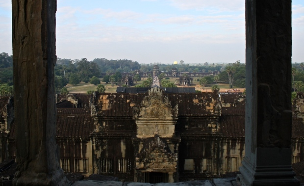This is the view from the tallest tower of Angkor Wat looking over the Western side of the complex.