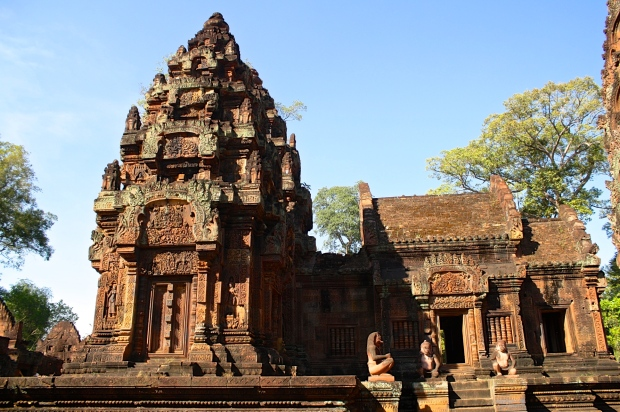 Banteay Srei is preserved to a much higher degree than any of the other temples. You can enter the temple gates, but most of the temple is roped off. You can walk around the main structure but you can't get very close  in order to prevent curious hands from touching the details of the carvings.